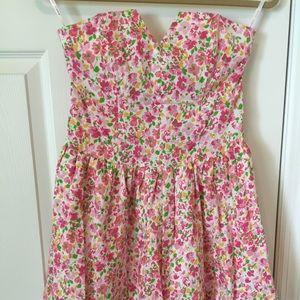 Betsey Johnson Strapless Floral Dress Size 4